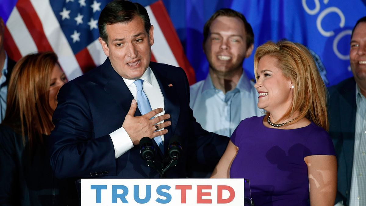 Republican  presidential candidate Senator Ted Cruz, R-Texas, speaks as his wife Heidi listens during a primary night campaign event. (Photo: AP)