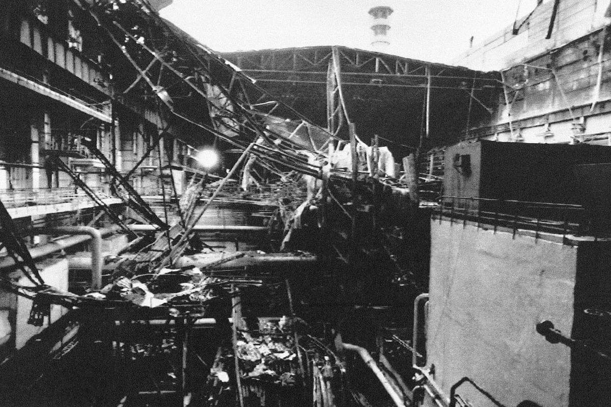 A file photo showing the collapsed roof of Reactor No 4 after the blast. (Photo: AP)