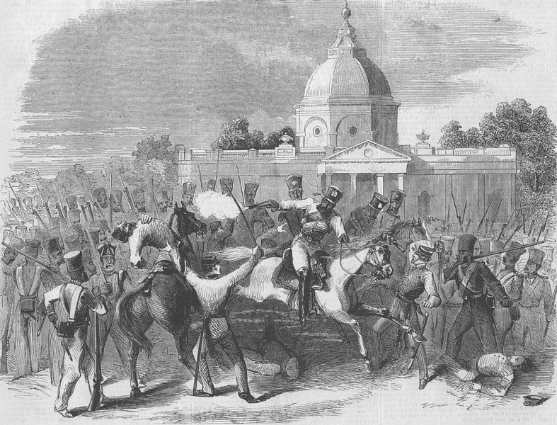 British officers being surrounded by mutineering Indian soldiers. (Photo Courtesy: Illustrated London News, 1857)