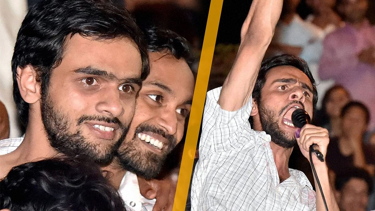 Umar Khaled and Anirban Bhattacharya after their release. (Photo: PTI/altered by<b> The Quint</b>)