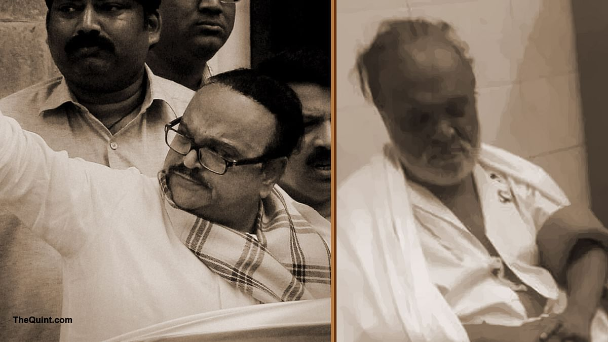 Chhagan Bhujbal  seen in a hospital on Monday (Right). The NCP leader is in jail for a disproportionate assets case and can be seen during his days before the arrest (Left). (Photo Courtesy: PTI and @news_houndz/altered by <b>The Quint</b>)