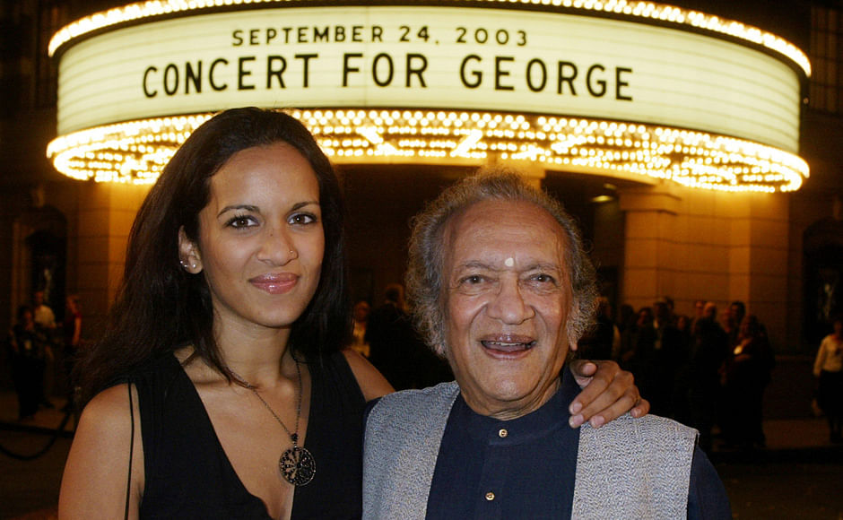 Musician Ravi Shankar (R) and daughter Anoushka Shankar arrive for a screening of <i>Concert for George</i>, a new documentary film celebrating the music of George Harrison. (Photo: Reuters)