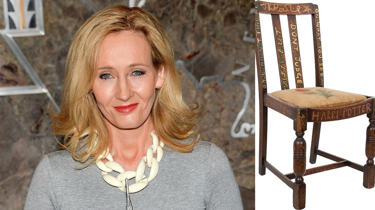 Photo provided by Heritage Auctions shows the chair that JK Rowling (L) sat on while writing the first two books of the Harry Potter series. (Photo: AP)
