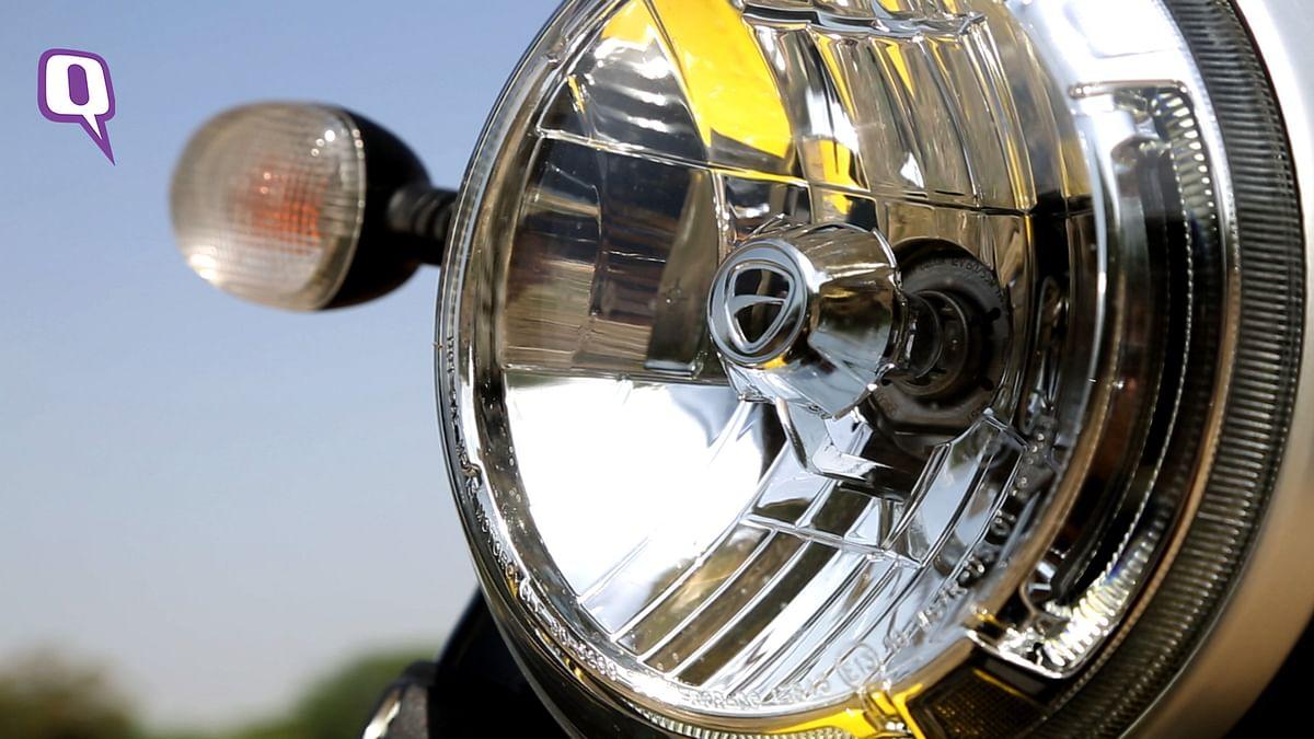 The headlight has Ducati engraving inside. (Photo: Siddharth Safaya/<b>The Quint</b>)