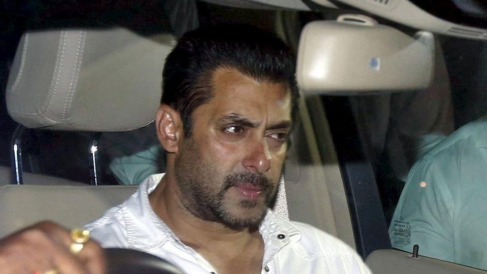 Salman Khan snapped in his car (Photo: Reuters)