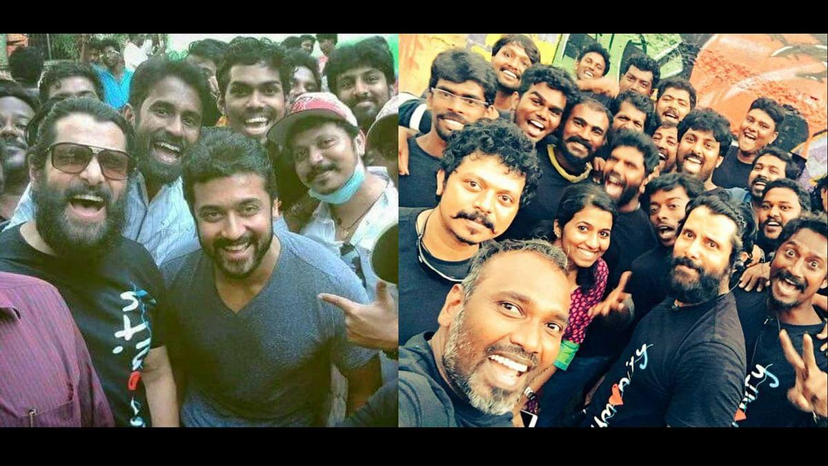 Vikram, Suriya and team while shooting for 'Spirit of Chennai' (Photo courtesy: Twitter)