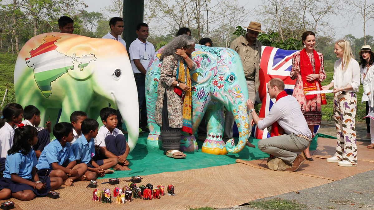 Duchess of Cambridge Kate Middleton and Prince William at Kaziranga Discovery Park campus in Assam on April 13, 2016. (Photo: IANS)