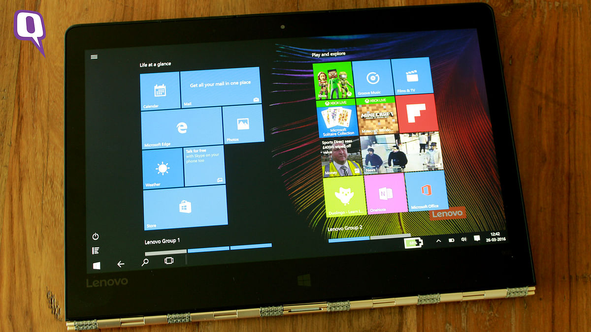 The Lenovo Yoga 900 in tablet mode. (Photo: <b>The Quint</b>)