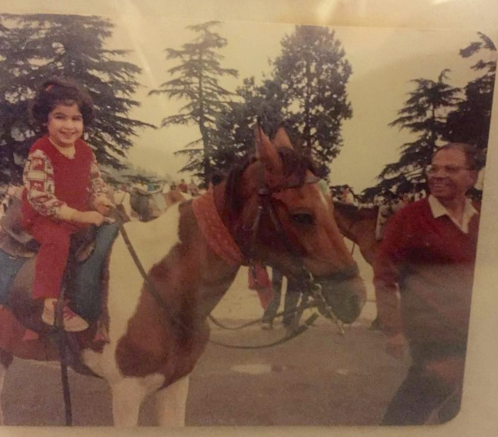 On my favourite horse in Shimla while Dada walked alongside. (Photo Courtesy: Shaira Mohan)