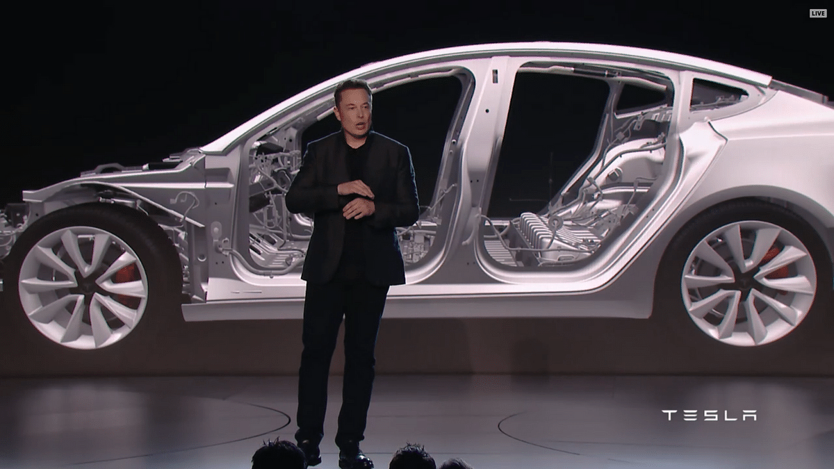 Musk at the Model 3 reveal event.