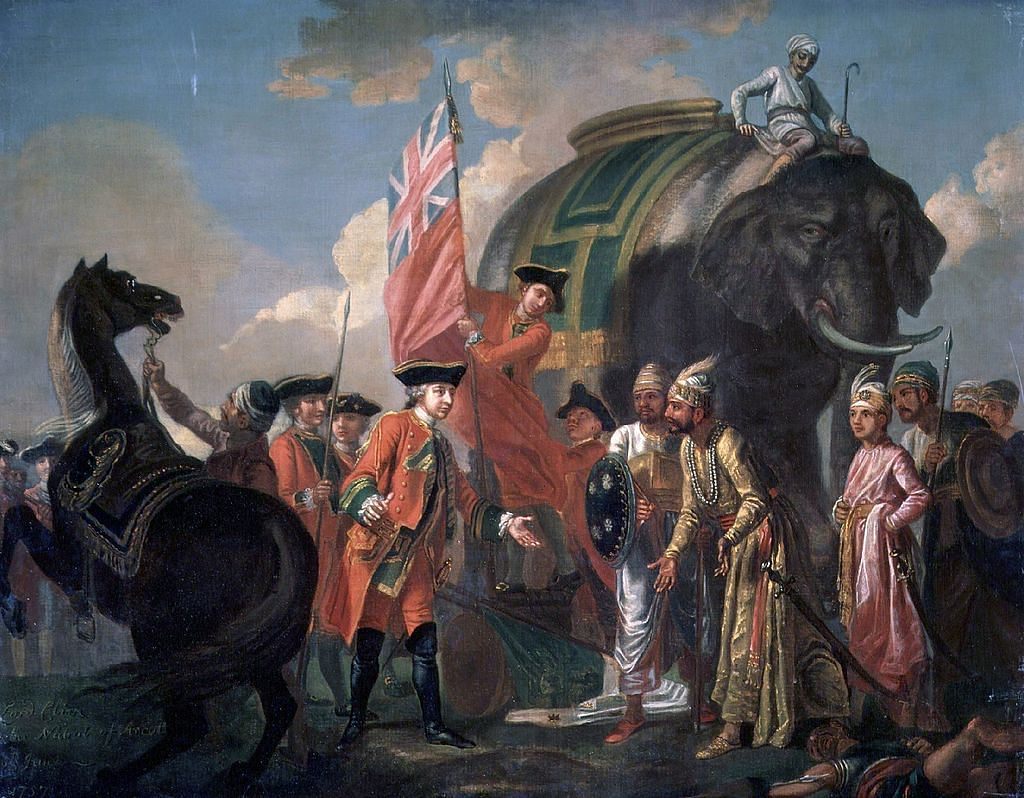 "Lord Clive meeting with Mir Jafar after the Battle of Plassey. (Photo Courtesy: <a href=""http://www.npg.org.uk/collections/search/portrait/mw01347/Robert-Clive-and-Mir-Jafar-after-the-Battle-of-Plassey-1757"">National Portrait Gallery</a>)"