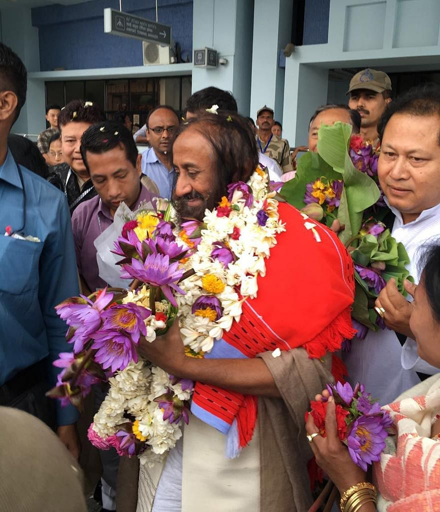 Reception of Sri Sri Ravi Shankar at the Imphal International Airport in Imphal on 17 April 2016. (Photo Courtesy: Suresh Babu)