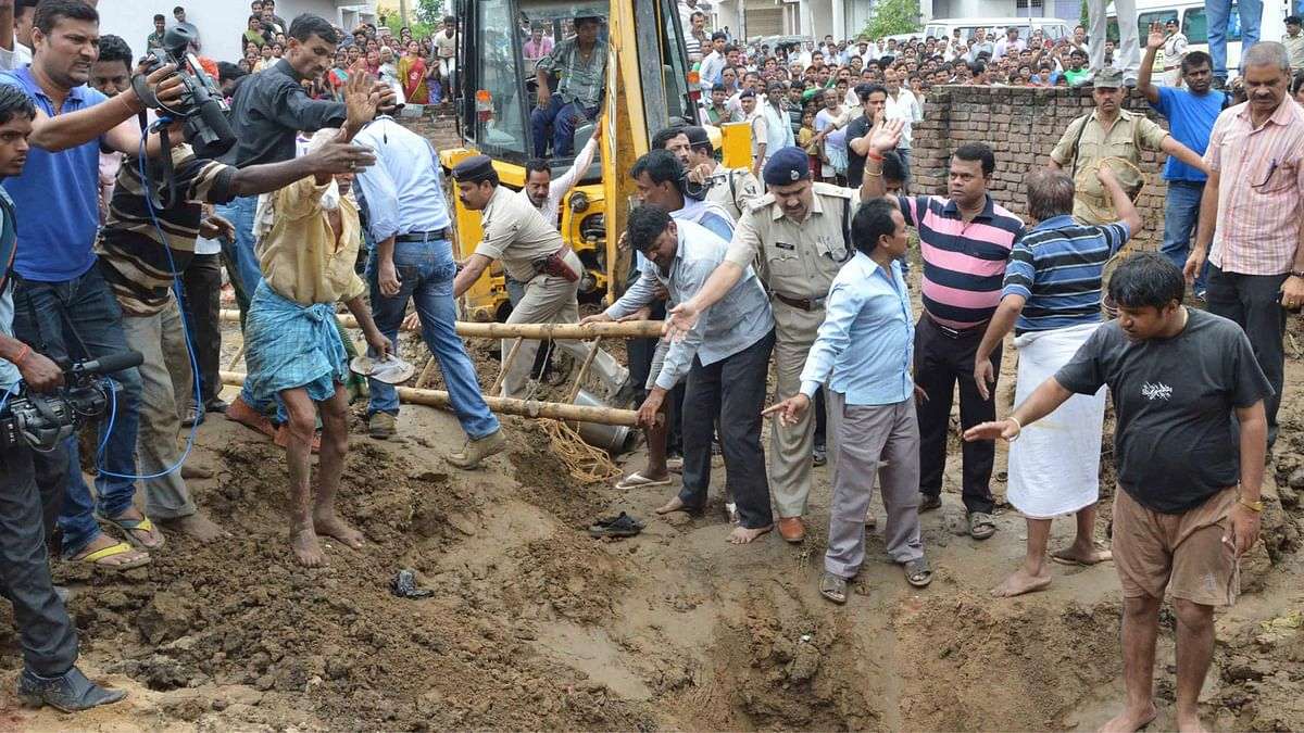 A five-year-old girl, was rescued from a borewell in Patna on June 28, 2015. (Photo: IANS)