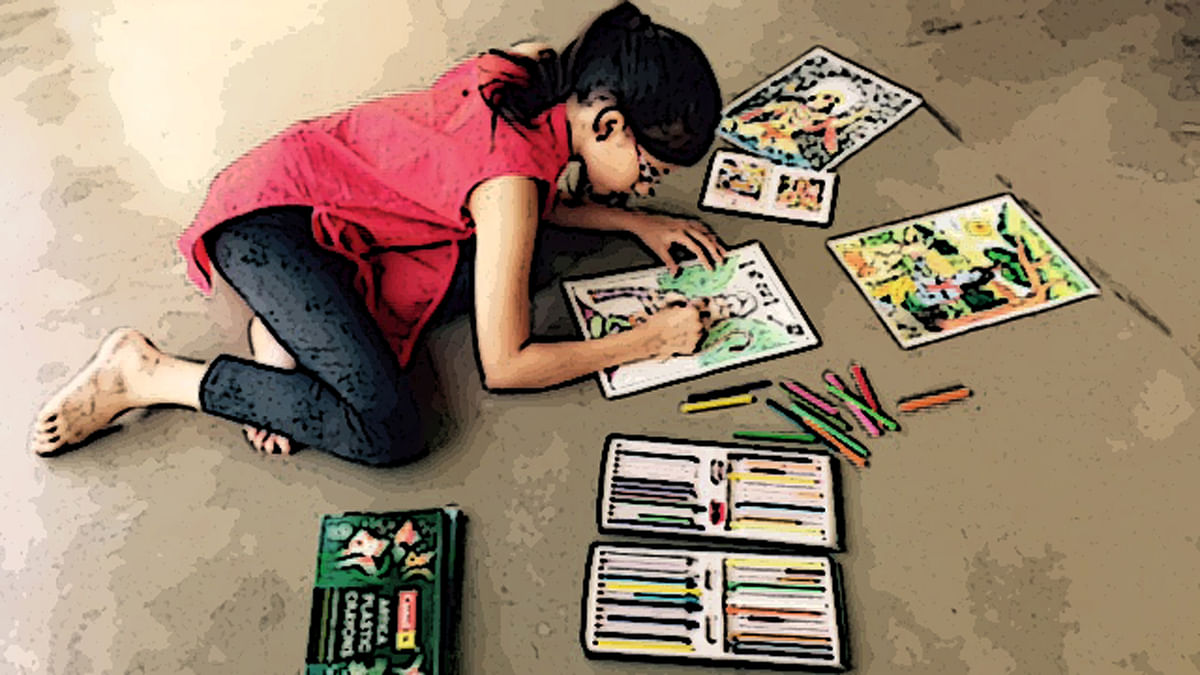 Angana Shah, 11, busy at painting pictures to depict the scriptures. (Photo Courtesy: Priya Adhyaru Majithia)