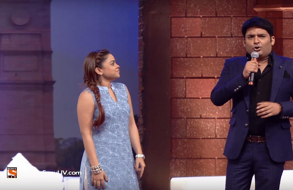 Sumona Chakravarthy and Kapil Sharma in <i>The Kapil Sharma Show </i>(Photo courtesy: YouTube)