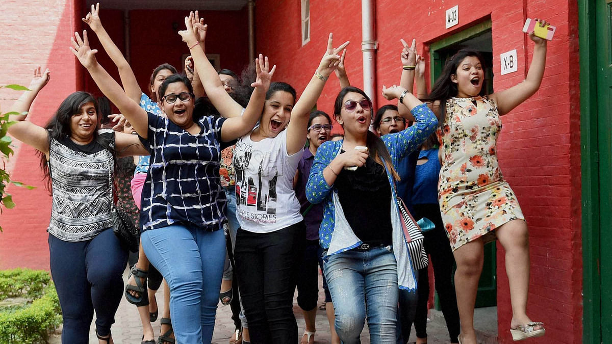 Students Celebrate after CBSE Class 10 Board Results.