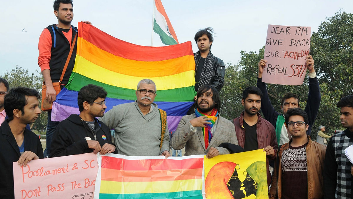LGBT supporters participate in Aazadi-e-Badlav march at Delhi's Connaught Place on December 27, 2015. (Photo: IANS)