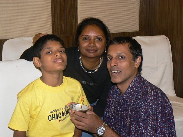 Me and my boys at a Diwali party in 2008. (Photo courtesy: Chitra Iyer)