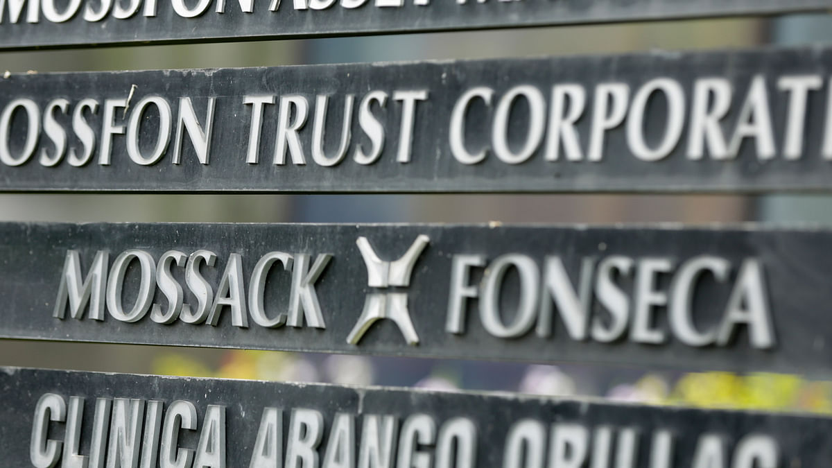 A marquee of the Arango Orillac Building lists the Mossack Fonseca law firm, in Panama City, Monday, 4 April 2016. (Photo: AP)