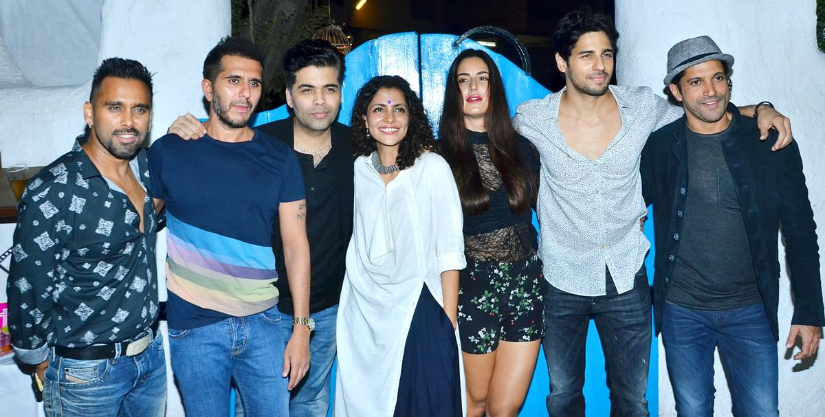 The <i>Baar Baar Dekho </i>gang: Bosco Martis, Riteish Sidhwani,  Karan Johar, Nitya Mehra, Katrina Kaif, Sidharth Malhotra and Farhan Akhtar (Photo: Yogen Shah)