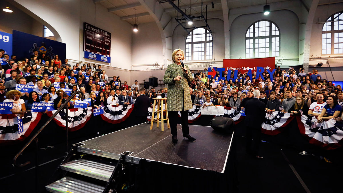 Hillary Rodham Clinton while campaigning at Carnegie Mellon University. (Photo: AP)