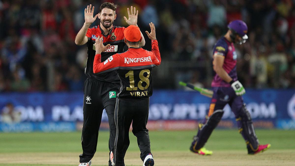 Kane Richardson celebrates the wicket of Faf du Plessis. (Photo: BCCI)