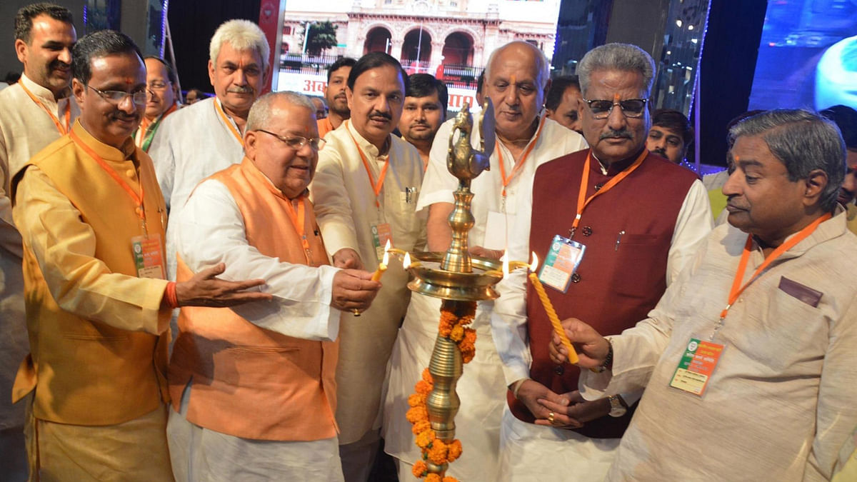 BJP leaders, including Union ministers Mahesh Sharma and Manoj Sinha, during a party meeting in Lucknow on April 1, 2016. (Photo: IANS)