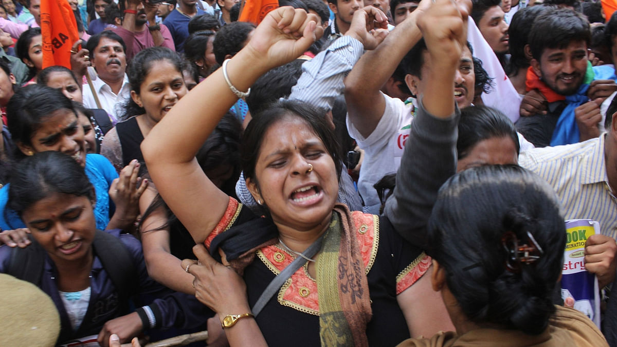 File photo of students protesting against the chemistry paper leak.(Photo: IANS)