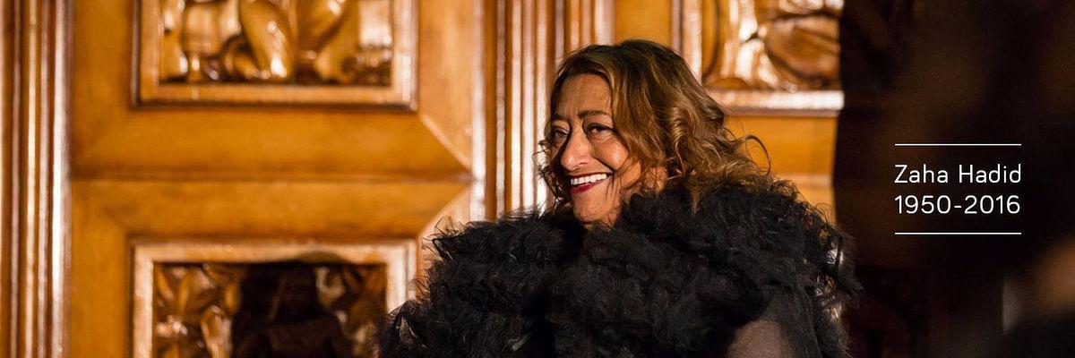 """The boss lady, Dame Zaha Hadid. (Photo Courtesy: Twitter/<a href=""""https://twitter.com/RIBA"""">@RIBA</a>)"""