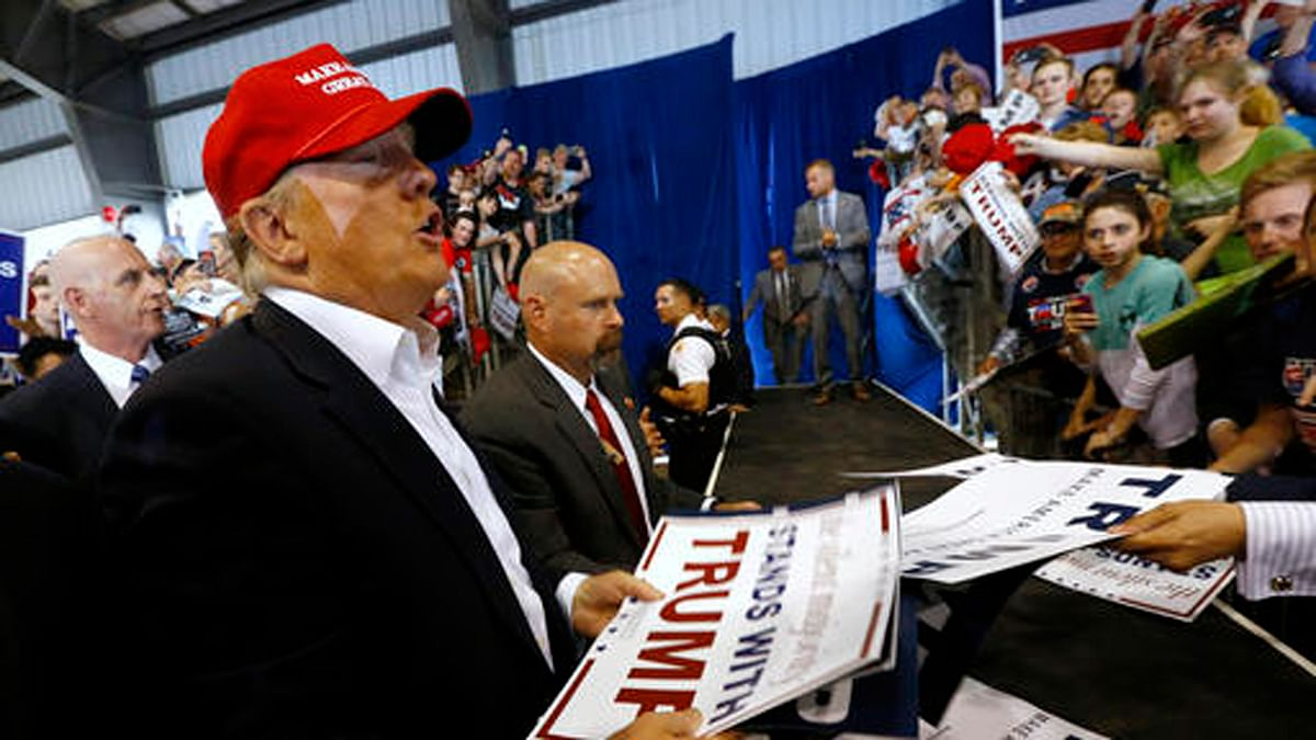 Donald Trump addresses concerns about outsourcing of jobs at a campaign rally in Delaware, US. (Photo: AP)