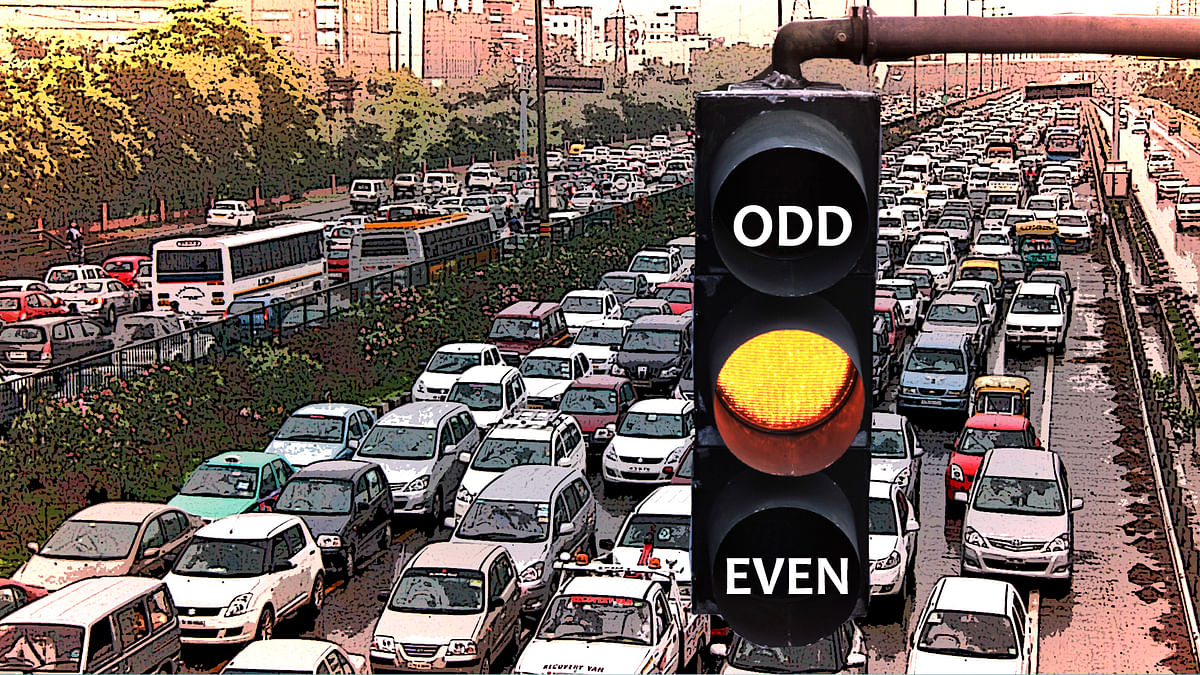 The odd-even experiment is supposed to reduce pollution levels in one of the most polluted cities in the world. (Photo: Atered by <b>The Quint</b>)