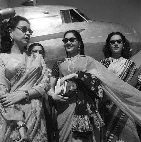 """Nigar Sultana, Veena, Naseem, Vijayantimala Al-Nasir and other films stars who took part at the International Film Festival on arrival at Willingdon Airport, on February 22, 1952. Vyjayanthimala exuding a bit of old school glamour (Photo: <a href=""""http://photodivision.gov.in/IntroPhotodetails.asp?thisPage=1429"""">Photo Division</a>)"""