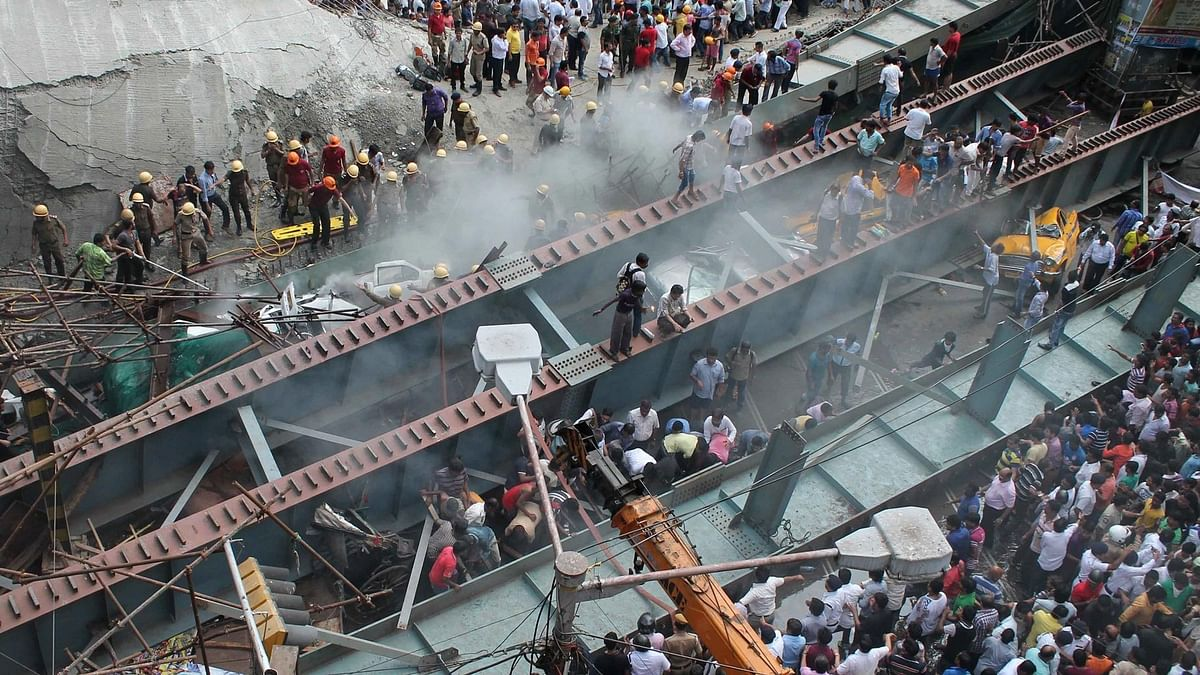 An aerial image of the flyover that collapsed in Kolkata on 31 March 2016.