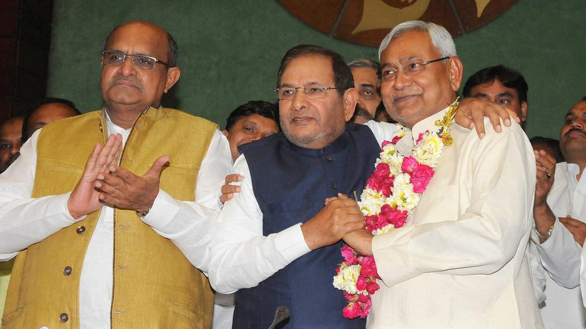 File image of Bihar Chief Minister Nitish Kumar with Sharad Yadav (center).