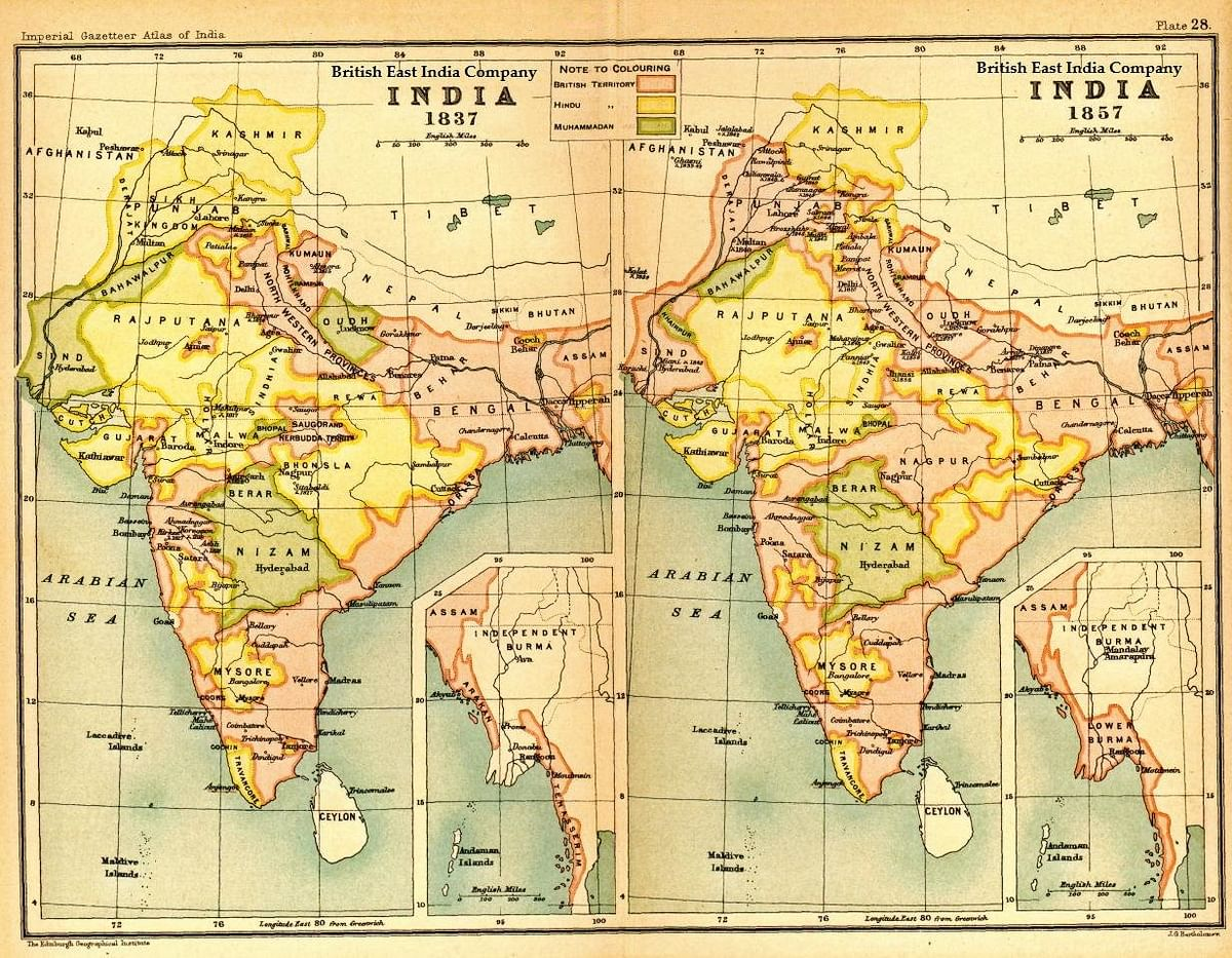 Image of map of India under the British East India Company, comparing 1837 with 1857. (Photo Courtesy: Imperial Gazetteer of India, Oxford University Press, 1907)