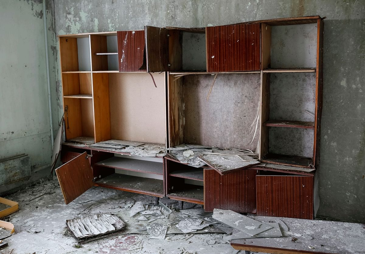 """A look at the pictures of Pripyat, or a guided tour to the ghost-scape, is enough to imagine the hurried exit of  scared people who knew something big had happened when they saw the graphite """"fireworks"""" light up the sky above the nuclear reactor. (Photo: Reuters)"""