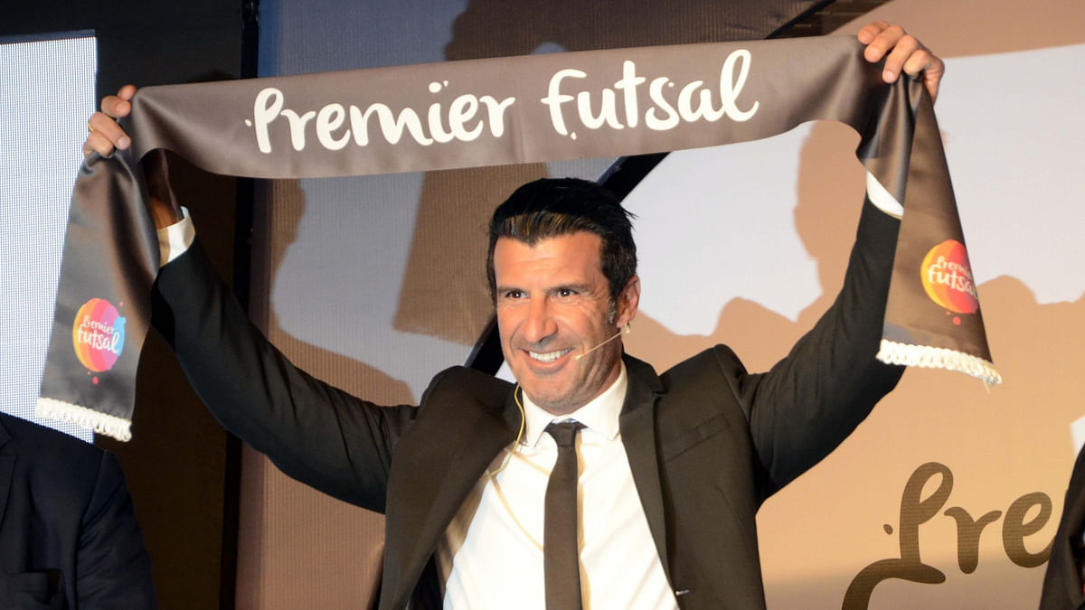 Luis Figo at the inauguration of Premier Futsal League in Mumbai on Tuesday (Photo: IANS)