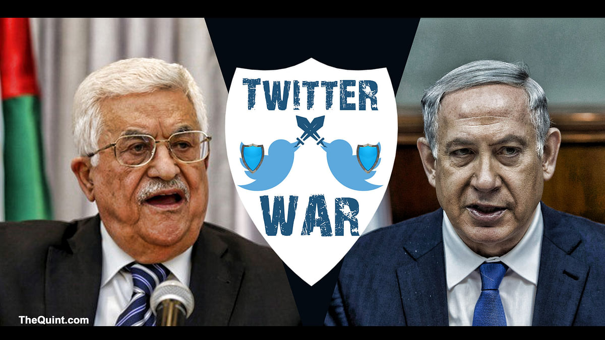 Mahmoud Abbas, President of the state of Palestine (left) and Israel's Prime Minister Benjamin Netanyahu's government had a short-lived Twitter war. (Photo: Hardeep Singh/<b>The Quint</b>)