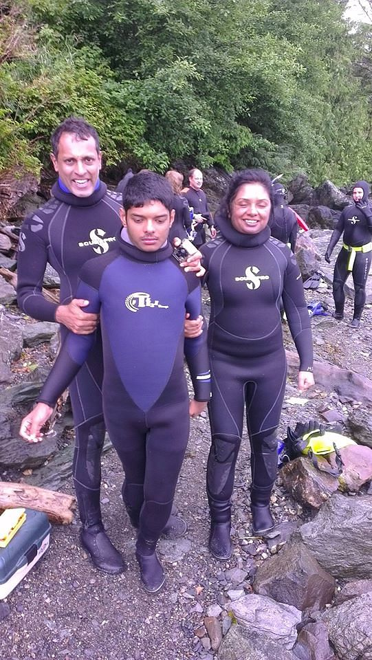 July 2013 – The family that sticks together wears the frog suits together! Headed for snorkelling in Alaska, while the bald eagles watched and the fishermen fished, we dived right into the cold waters of Ketchikan! (Photo Courtesy: Chitra Iyer)