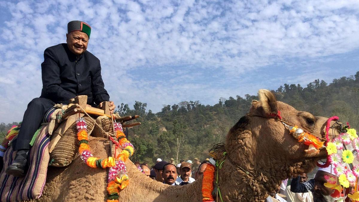 Himachal Chief Minister Virbhadra Singh enjoys a camel ride during International Renuka Fair in Sirmour, Himachal on November 22, 2015. (Photo: IANS)