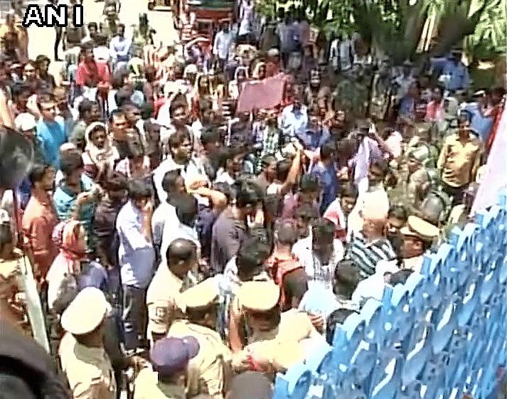 Student organisations protest against HCU VC Appa Rao, demand his resignation. (Photo: ANI)