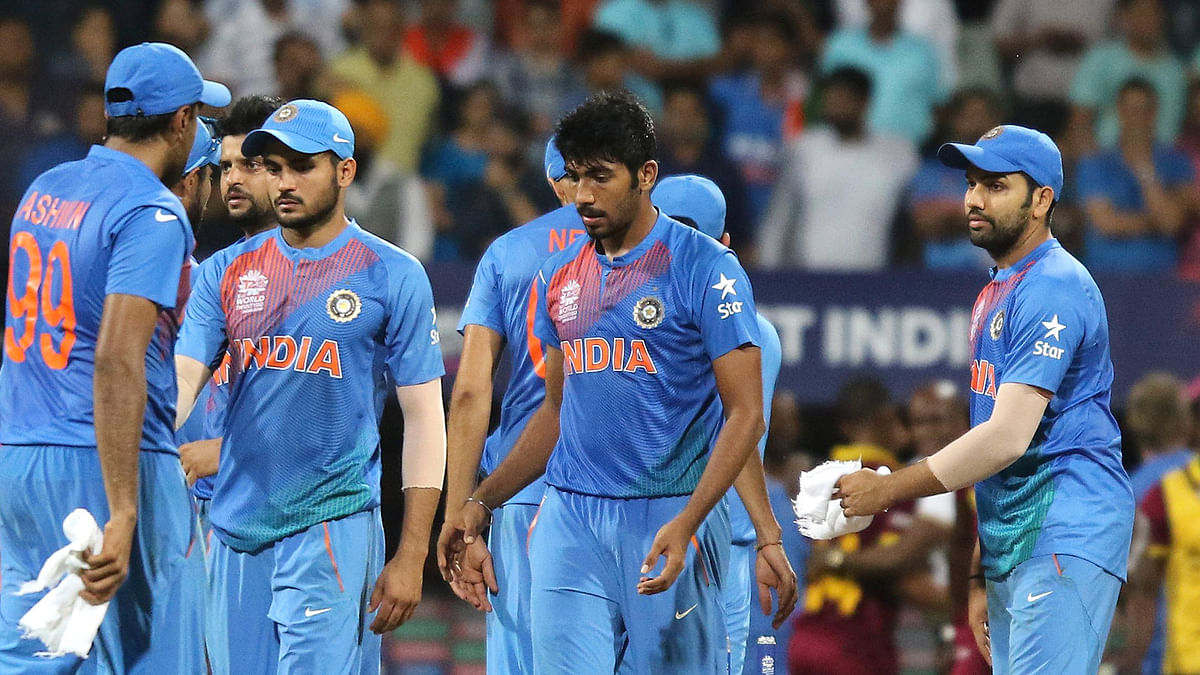 The Indian team is dejected after losing the World T20 semi-final to West Indies. (Photo: AP)
