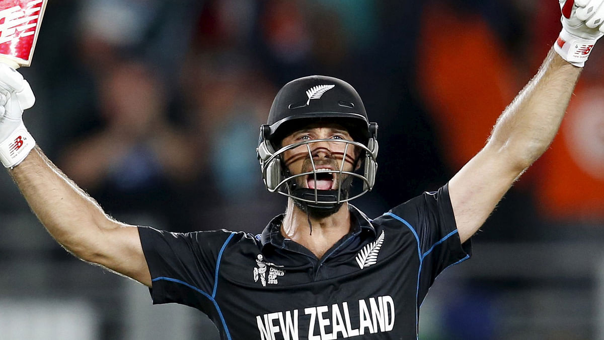 Grant Elliott celebrates after hitting the winning runs for New Zealand in the 2015 World Cup semi-final against South Africa. (Photo: Reuters)