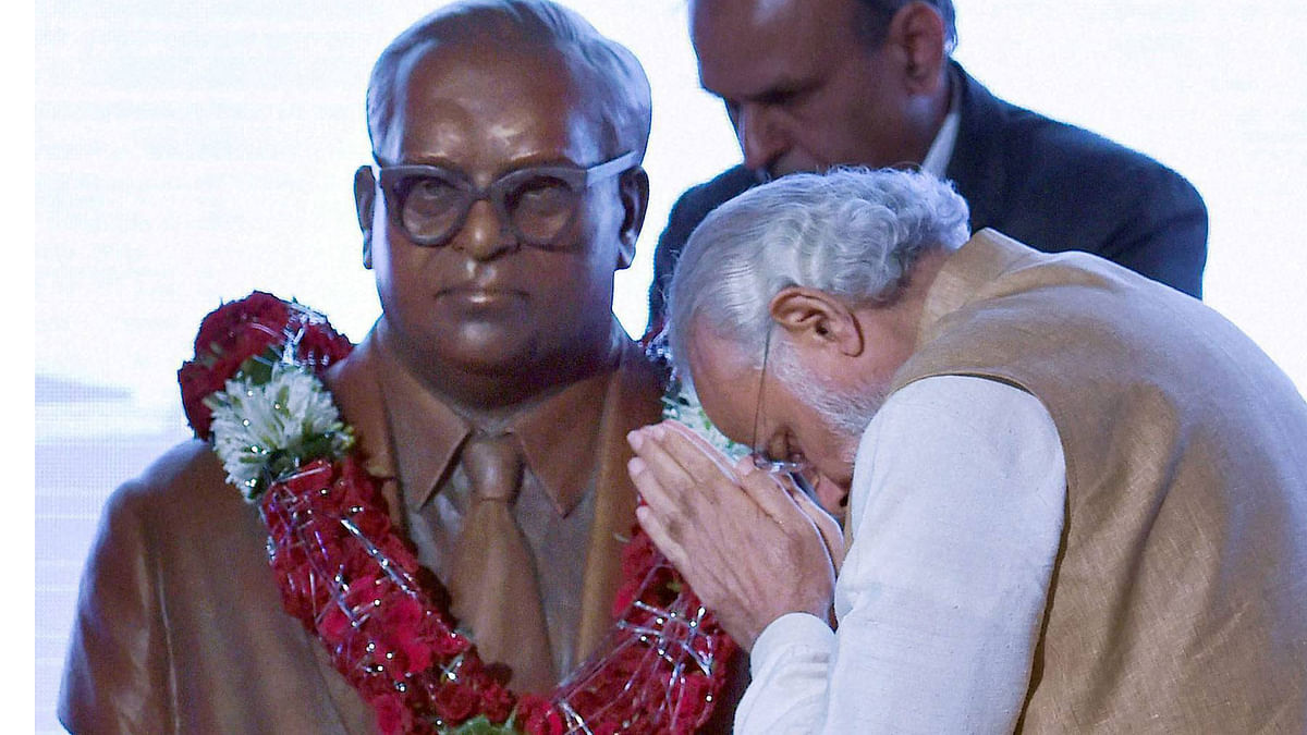 Prime Minister Narendra Modi pays tribute to the bust of Babasaheb Ambedkar on the occasion of his 125th birth anniversary during the inaugural ceremony of Maritime India Summit 2016 in Mumbai. (Photo: PTI)