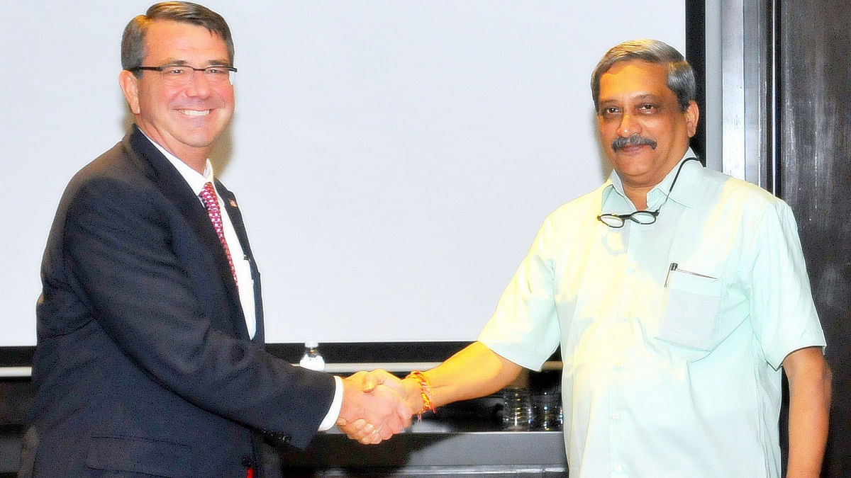 Union Minister for Defence Manohar Parrikar with US Secretary of Defence  Ashton Carter during the 3rd ASEAN Defence Ministers' Meeting in Kuala Lumpur, Malaysia on 3 November 2015. (Photo: IANS)