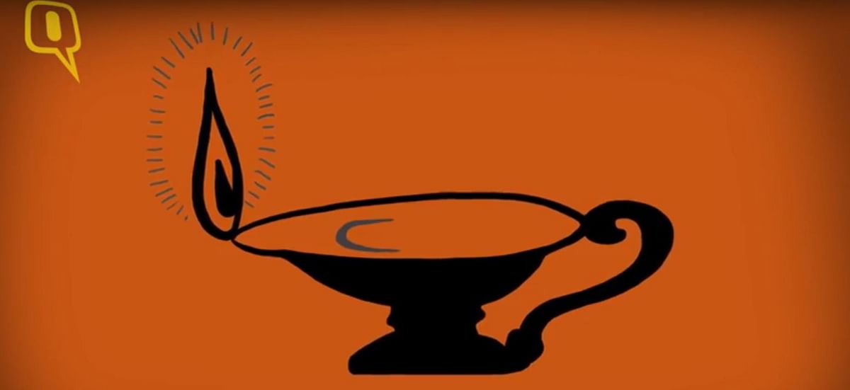 The election symbol of the Jan Sangh. (Photo: <b>The Quint</b>)
