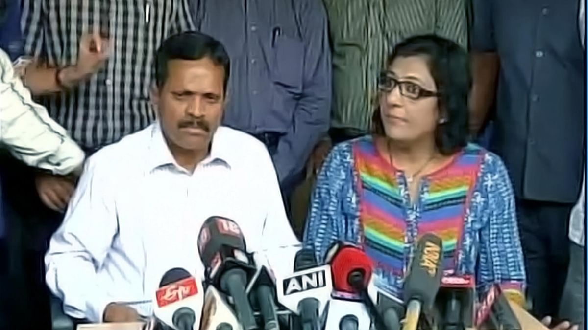 IVRCL legal team speaks at a press conference in Hyderabad. (Photo Courtesy: ANI)