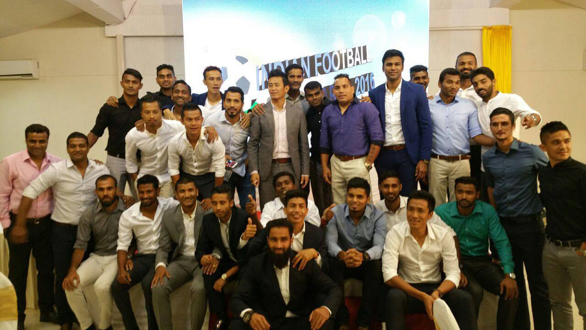 """Baichung Bhutia with other Indian football players at the FPAI Awards Night (Photo: Facebook/<a href=""""https://www.facebook.com/fpaindia/?fref=ts"""">Football Players  Association of India</a>)"""
