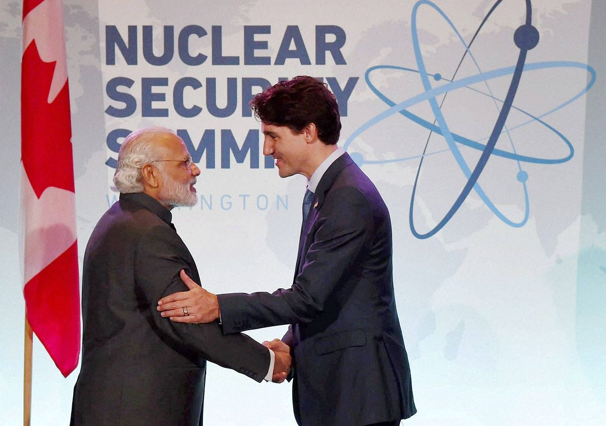 Prime Minister Narendra Modi with Canadian Prime Minister Justin Trudeau during a bilateral meeting at the Nuclear Security Summit,  in Washington.(Photo: PTI)