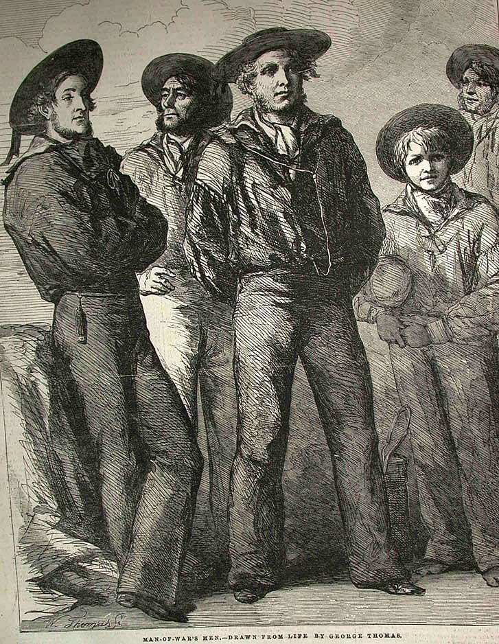 Man of War's Men. Drawn from life by George Thomas. Illustration showing mid-1800s sailors in uniform, published in the Illustrated London News in early 1854. (Photo: Wikimedia Commons)